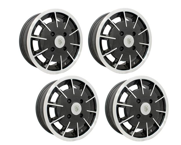 empi gasser wheel 4 x 130 black w polished lip set of 4 ebay. Black Bedroom Furniture Sets. Home Design Ideas