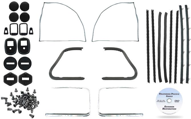 vw door rubber kit  german door seals  beetle sedan 1960