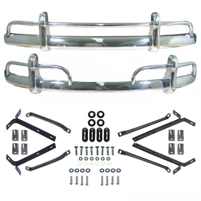 VW Front & Rear 1954-67 Beetle Triple Chrome Over-Rider Complete Bumper on