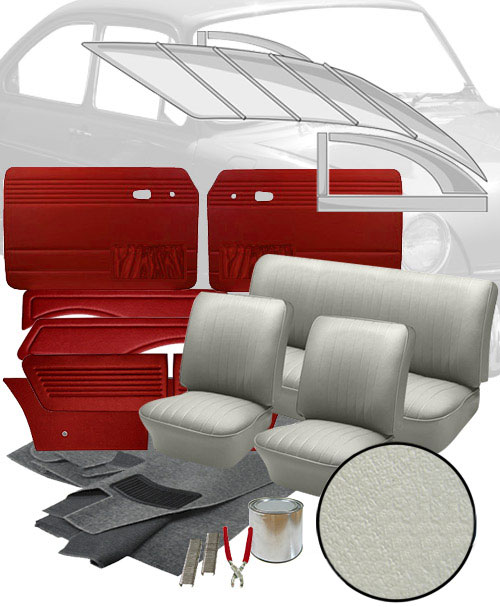 Deluxe smooth vinyl vw interior kit fastback 1965 1967 vw parts for Deluxe interior design studio kit