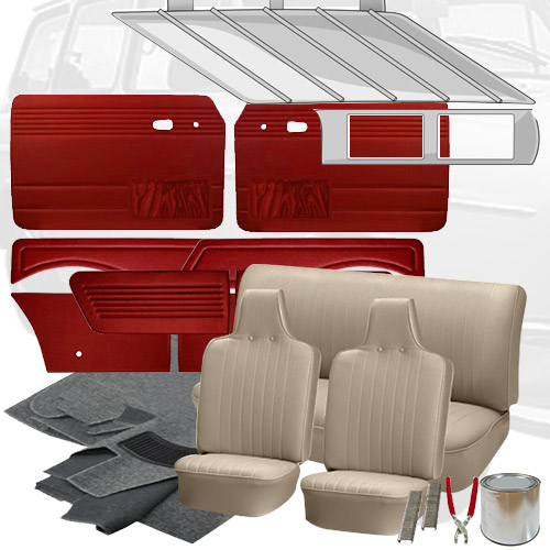 Deluxe tweed cloth vw interior kit squareback 1970 1972 vw parts for Deluxe interior design studio kit