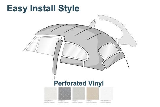 1947-1967 VW Bug Sedan Easy Install Headliner Off-White Perforated