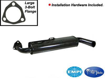 Large 3 Bolt Flange Empi 3324 Vw Bug /& Ghia Black Muffler With Black Tip