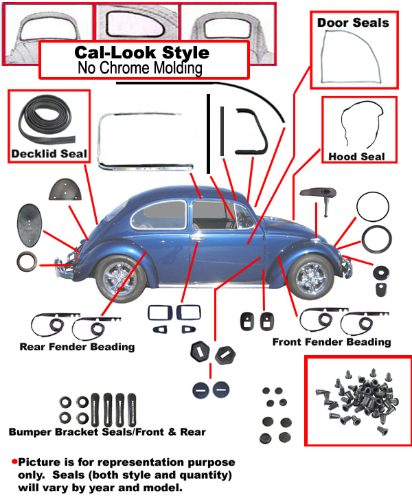 Complete Rubber Kit Cal on 1970 Vw Bus Parts Diagram