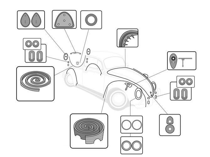 1961 vw beetle body rubber kits