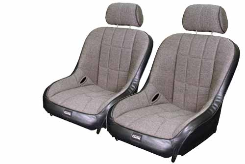 Wide Low Back Seats With Adjustable Headrest Black Vinyl