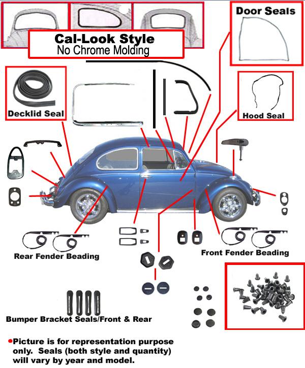 Volkswagen Bus Parts: VW Complete Car Rubber Kit, Cal-Look, Beetle Sedan 1968