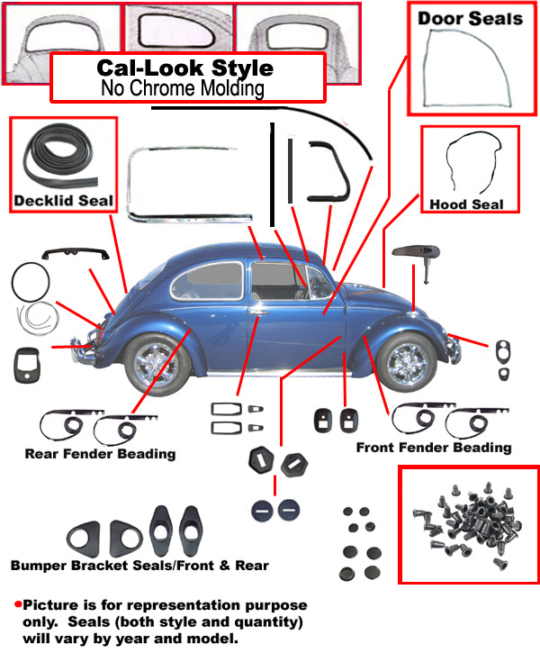 Vw Complete Car Rubber Kit Cal Look Beetle Sedan 1974