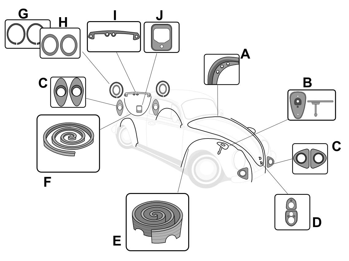 vw body rubber seal kit  super beetle sedan  convertible 1974  vw parts