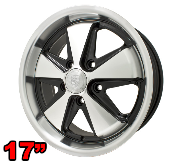 porsche  fuchs replica wheel gloss black polished    vw parts jbugscom