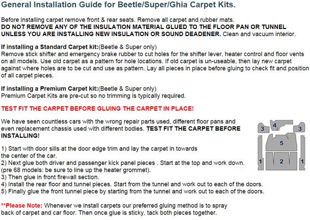 Standard vw front carpet kit black loop w footrest beetle sedan carpet kit general installation guide for beetlesuperghia using mvteproduct publicscrutiny Image collections