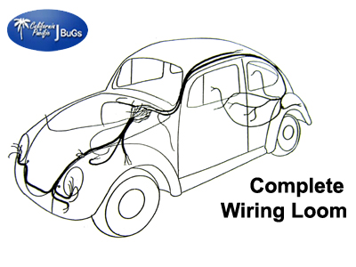 vw complete wiring kit beetle sedan 1954 1955 vw parts jbugs com rh jbugs com
