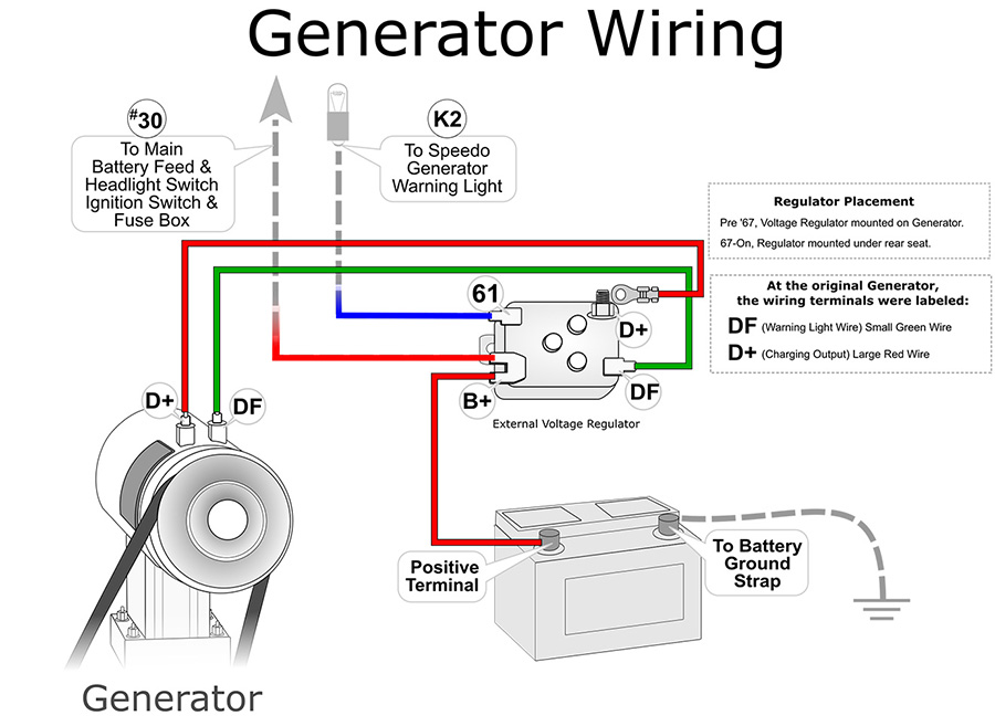 Wiring Diagram For 12 Volt Generator : Vw alternator generator starter
