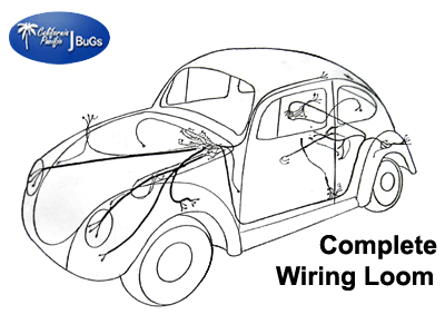 LC vw complete wiring kit, beetle 1968 1969 vw parts jbugs com 1969 vw bug fuse box at aneh.co