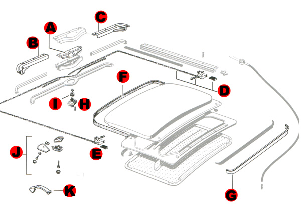 Vw Super Beetle Sunroofs Seals Parts 1971 1972 on color wiring diagram