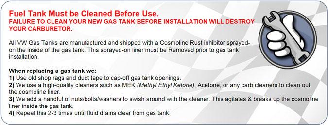 Gas tank notice.