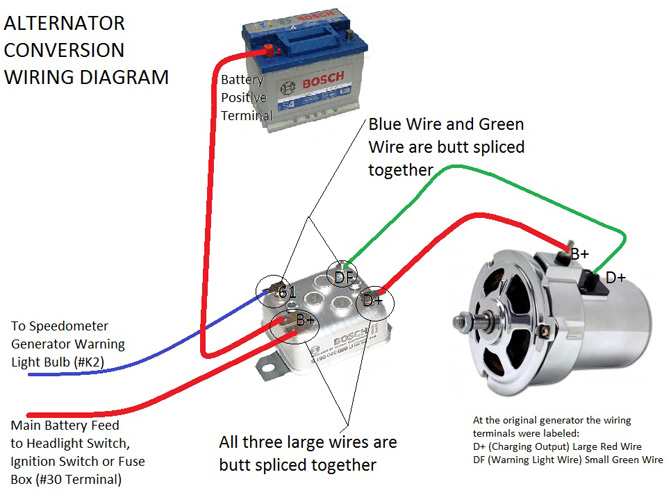 alternator conversion instructions vw bosch alternator, conversion type, 55 amp vw parts jbugs com 1972 vw beetle voltage regulator wiring diagram at bakdesigns.co