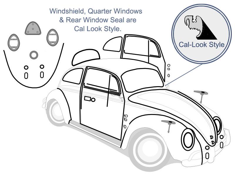 Vw Complete Car Rubber Kit Cal Look Beetle Sedan 1962 1963 Vw