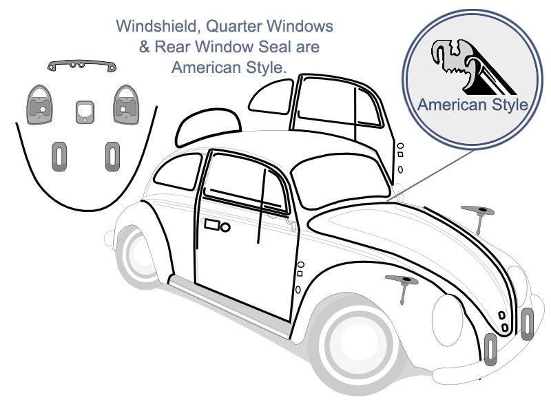 Vw Complete Car Rubber Kit American Style Super Beetle Sedan 1972