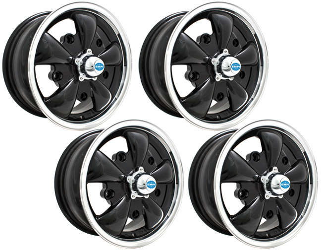 empi gt 5 vw wheel gloss black w polished lip w center caps set of 4 ebay. Black Bedroom Furniture Sets. Home Design Ideas