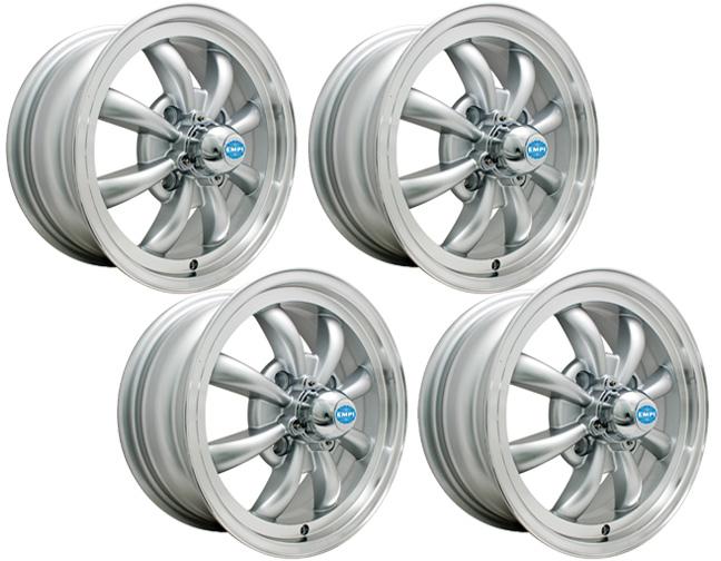empi gt 8 spoke silver wheel 4 lug set of 4 ebay. Black Bedroom Furniture Sets. Home Design Ideas