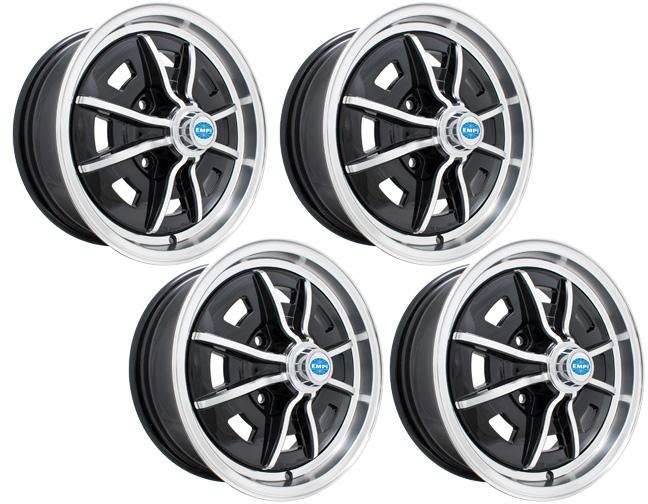 empi vw sprintstar wheels black with polished lip spokes 8 spoke set. Black Bedroom Furniture Sets. Home Design Ideas