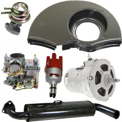 vw engine accessories: carbs, engine tin, exhausts & electrical parts