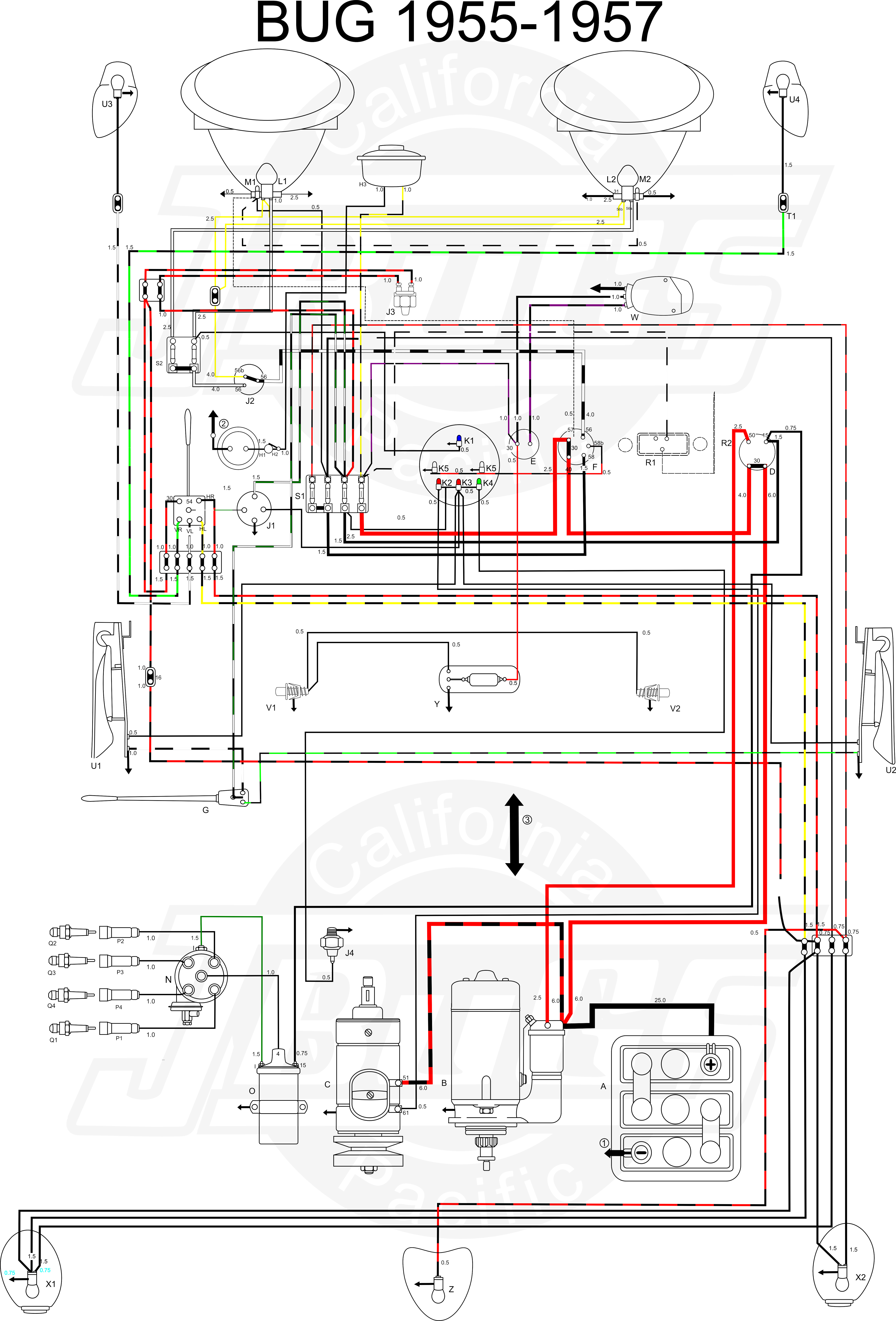 VW Bug 1955 57 Wiring Diagram jbug wiring harness 1970 vw beetle wiring harness \u2022 wiring vw bug painless wiring harness at mifinder.co