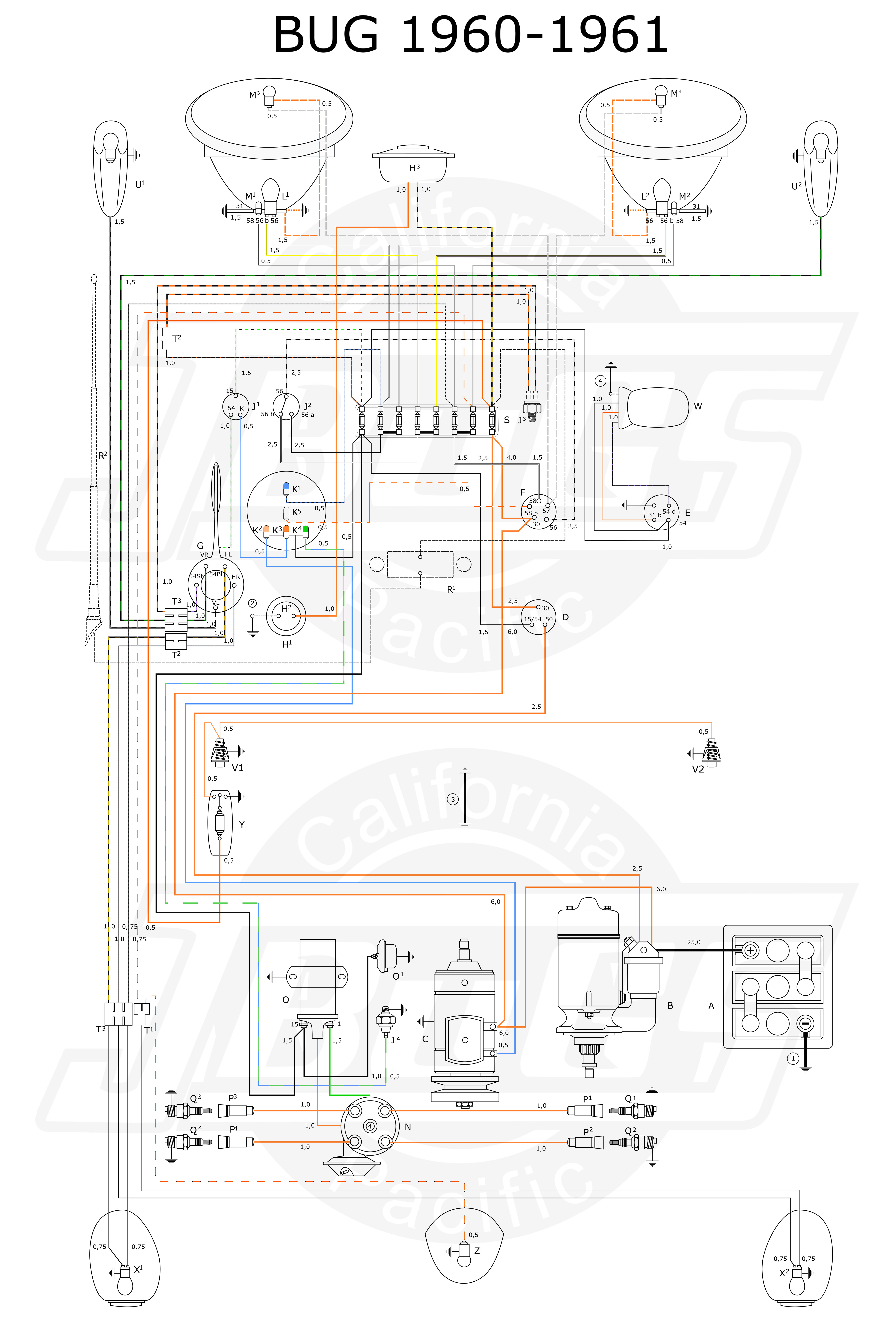 VW Bug 1960 61 Wiring Diagram vw tech article 1960 61 wiring diagram 1965 vw beetle wiring diagram at nearapp.co