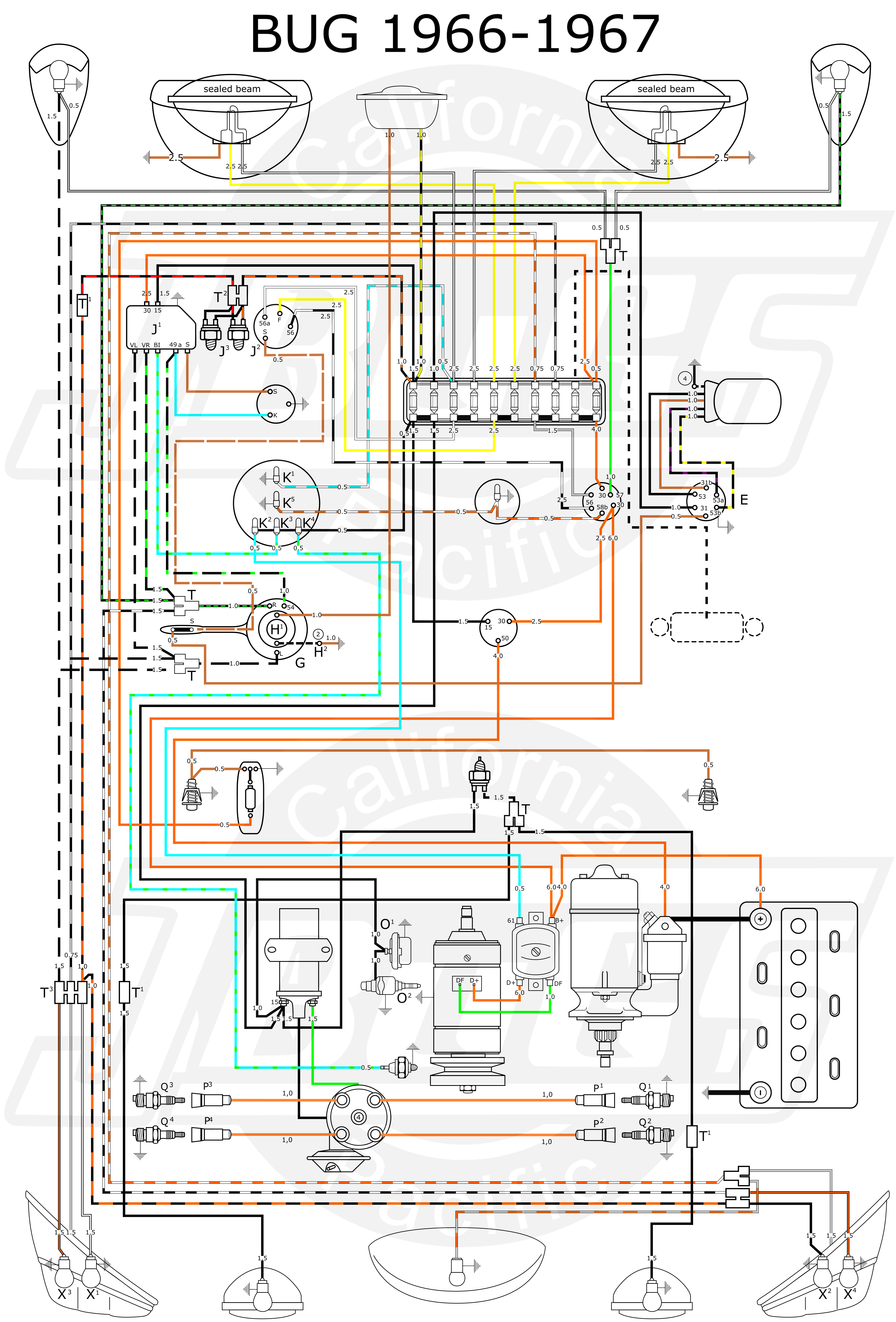 VW Bug 1966 67 Wiring Diagram vw tech article 1966 67 wiring diagram 1965 vw beetle wiring diagram at nearapp.co