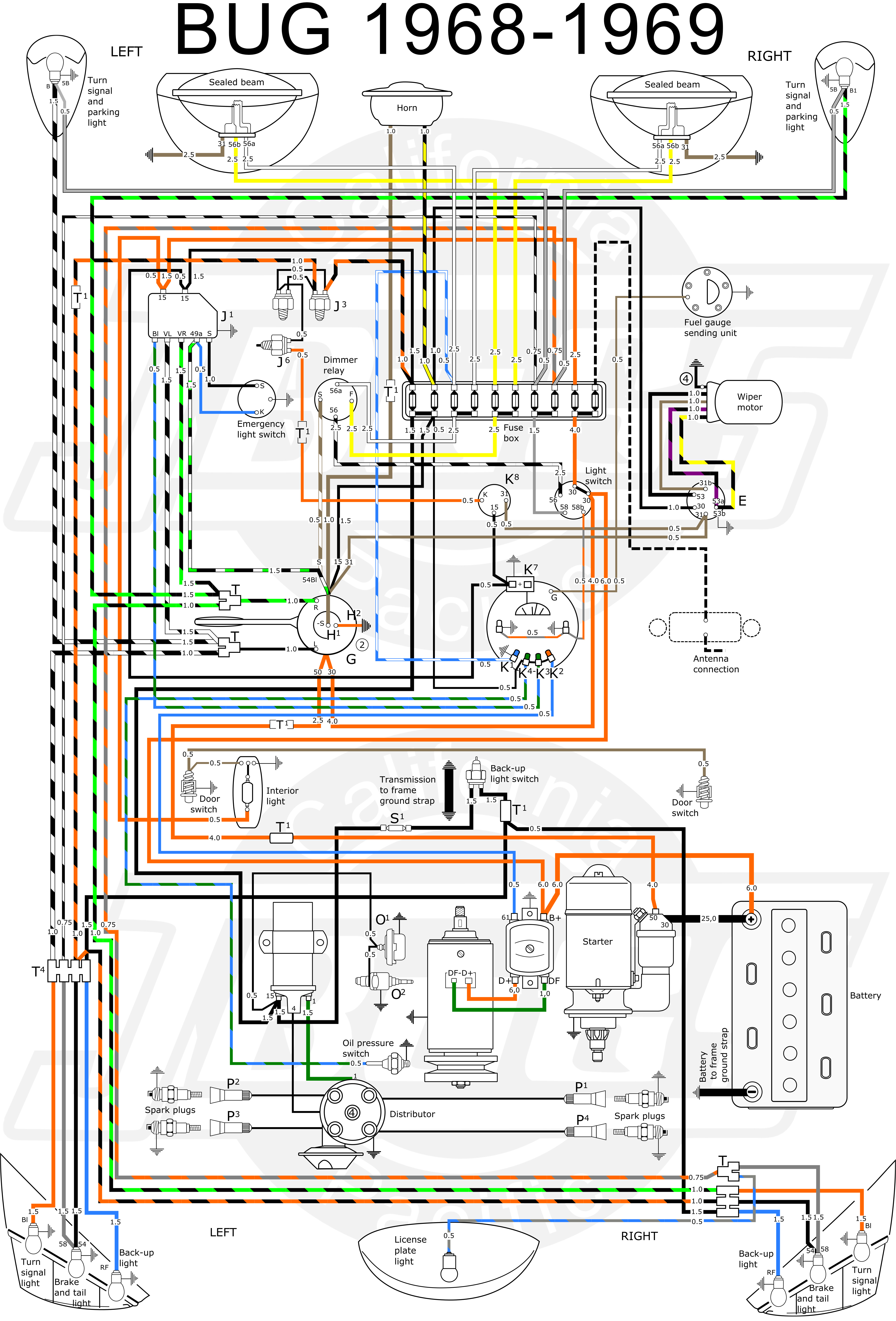 VW Bug 1968 69 Wiring Diagram vw tech article 1968 69 wiring diagram VW Bus Ignition Coil at cos-gaming.co