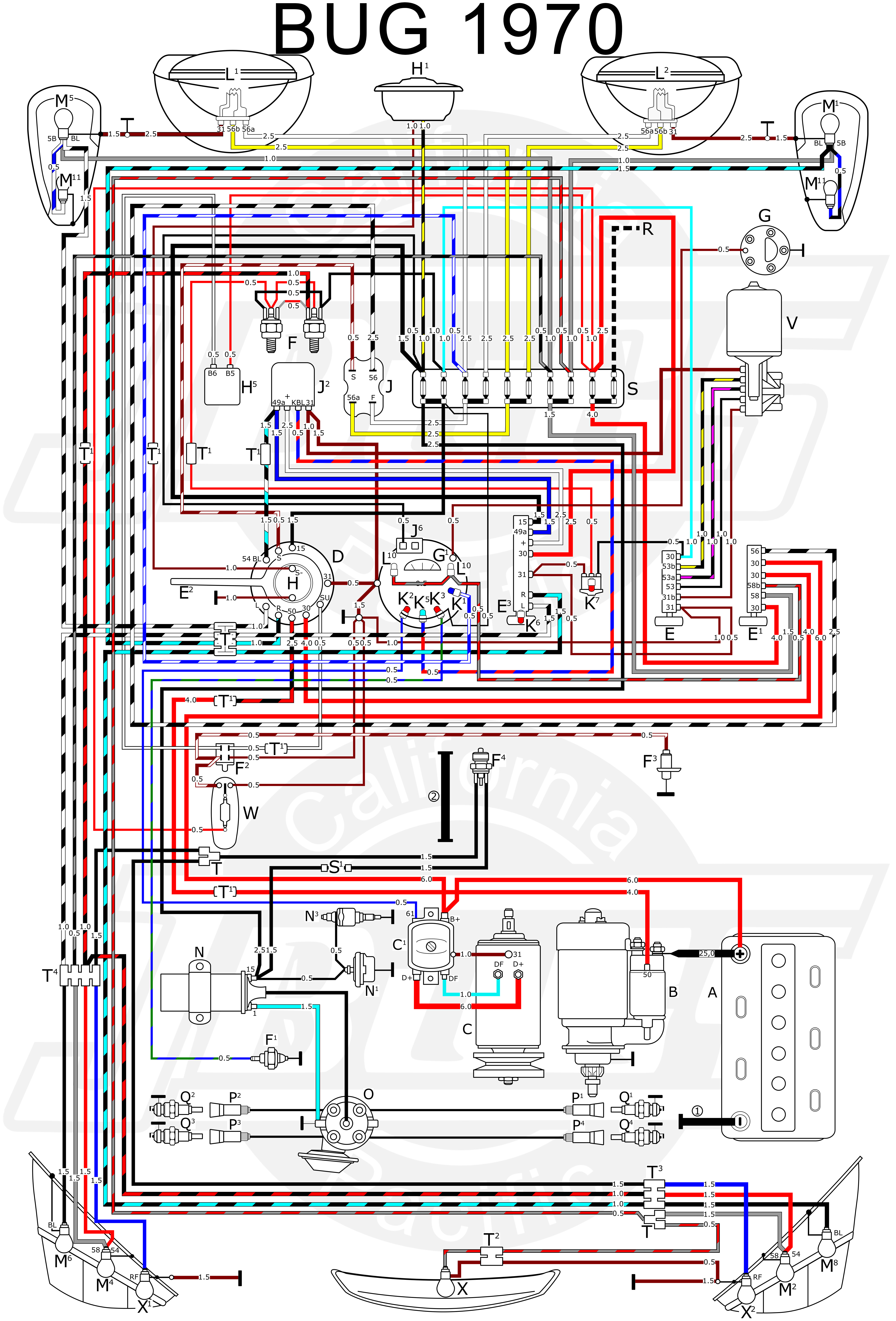 VW Bug 1970 Wiring Diagram vw tech article 1970 wiring diagram VW Bus Ignition Coil at cos-gaming.co