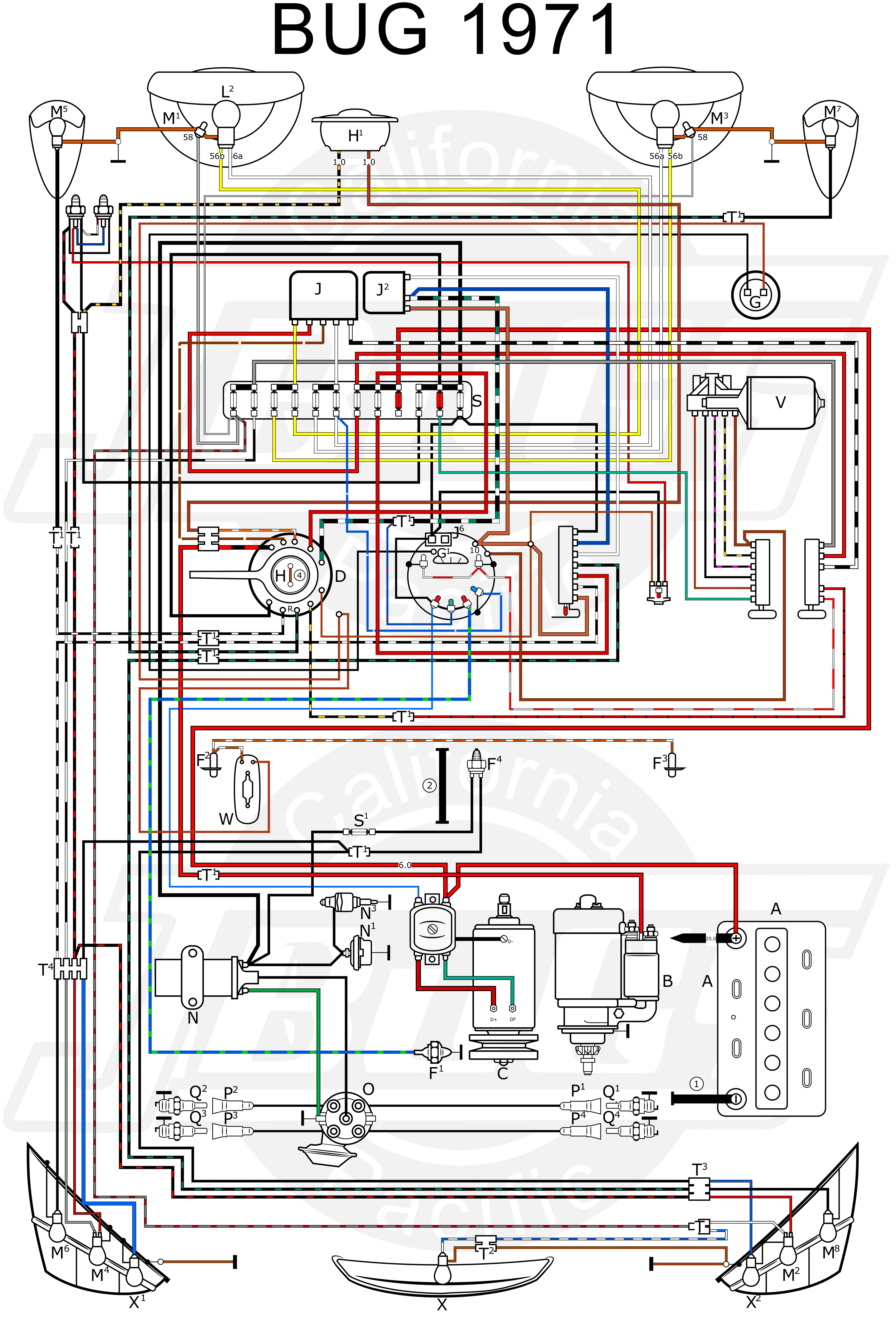 VW Bug 1971 Wiring Diagram vw tech article 1971 wiring diagram VW Bus Ignition Coil at cos-gaming.co