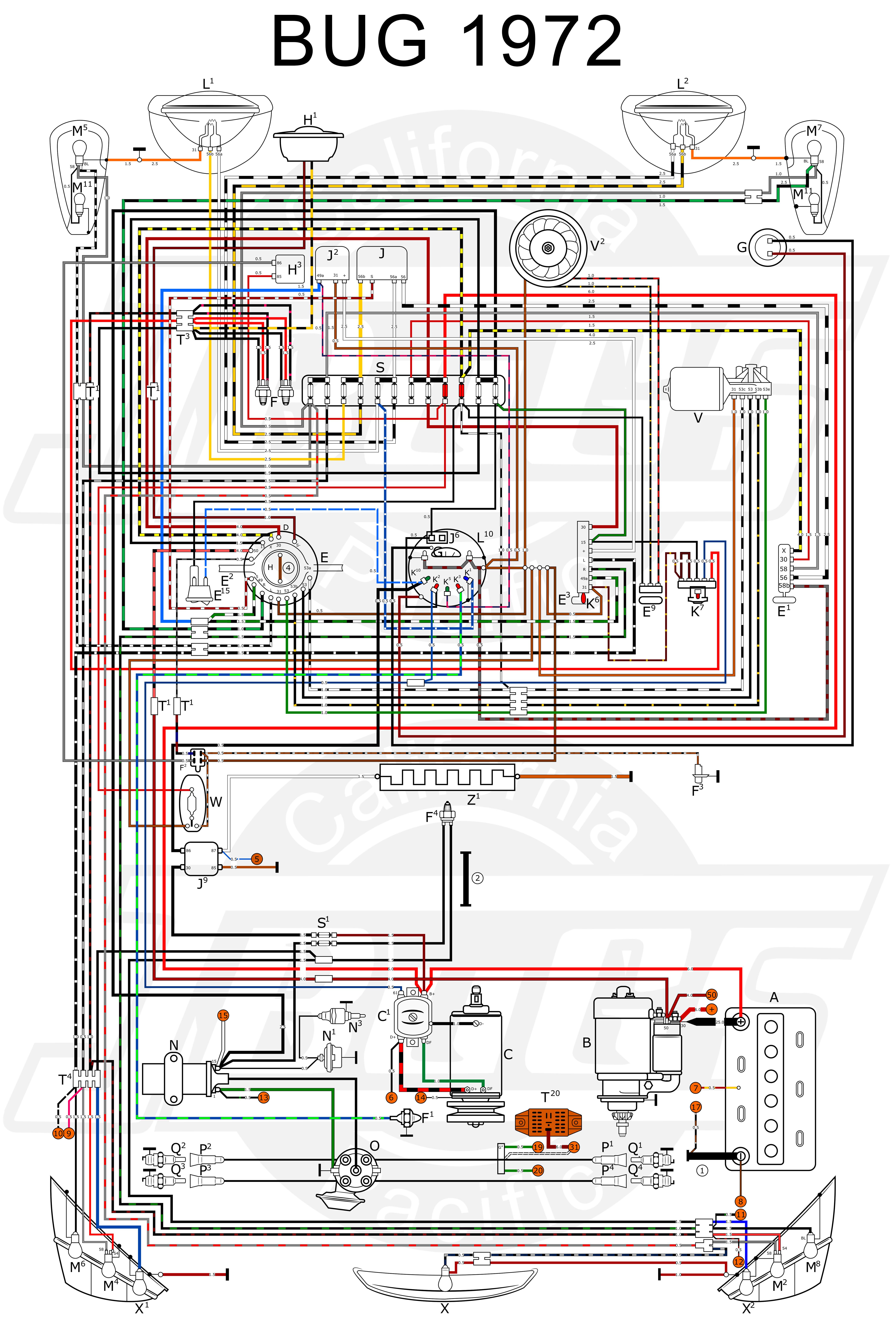 VW Tech Article 1972 Wiring Diagram JBugs